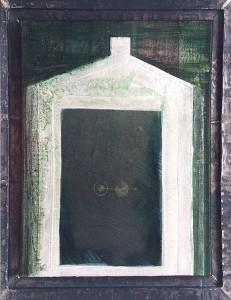 huisje in het groen acryl-lood-doek
