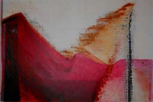 de rode polder- pigment en acryl op doek