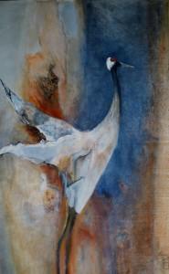Kraanvogel pigment en acryl 80x140